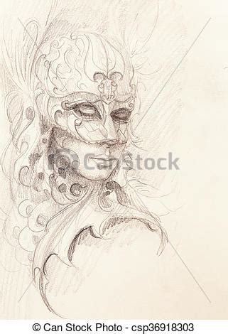 Woman and ornamental mask