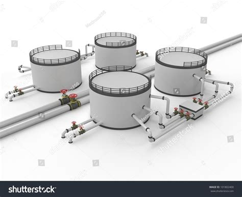 Oil Storage Tank And Pipeline On A White Background Stock