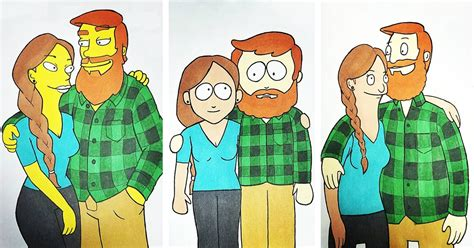 Character Artist Illustrates Himself and his Girlfriend in