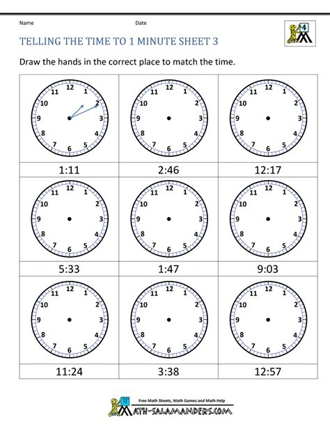printable clock worksheets telling the time to 1 min 3