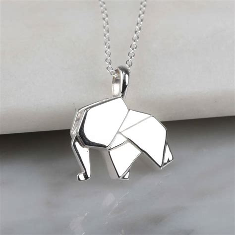 personalised solid silver origami elephant necklace by