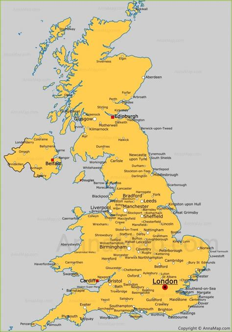 United Kingdom cities map | Cities and towns in UK