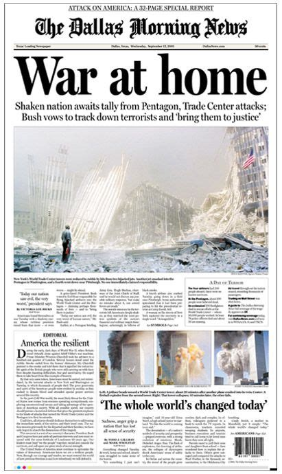 The front page of The Dallas Morning News on Sept