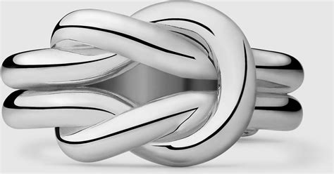 Gucci Knot Wide Ring In Silver in Sterling Silver