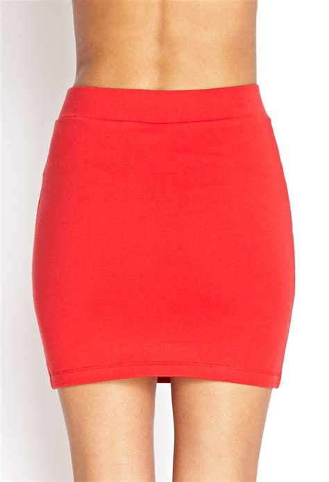 Forever 21 Stretch-knit Mini Skirt in Red | Lyst